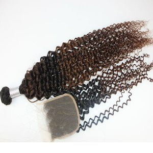 A Brazilian Jerry Curly Hair Bundles With Closure Ombre Color Indian Peruvian 100 %Virgin Human Hair Wefts With 4x4 Hair Closure 10 -28