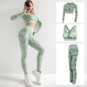 Womens Camo Yoga Define 3pcs Seamless Academia de Yoga Bra Esporte Bra Camouflage cintura alta GYM Leggings Calças de fitness leggins terno Workout