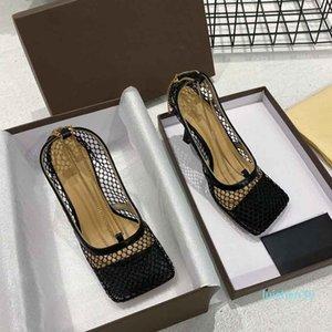 İlkbahar ve yaz yüksek topuklu, yeni tasarımcı sandaletler, lüks tasarımcı yüksek topuklu, 9.5cm yüksek topuklu AL30 örgü