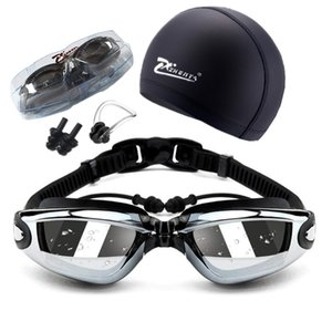 luxo- Natação Adulto Geogle Miopia Professional 5 Em 1 Swim Goggles Set Anti Fog UV Waterproof Prescription Glasses 150-800 C19041201