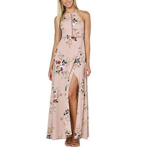Seksi Kadınlar Maxi Elbise Halter Boyun Çiçek Baskı Kolsuz Yaz Plaj Uzun Kayma Elbise donanma / haki / beyaz