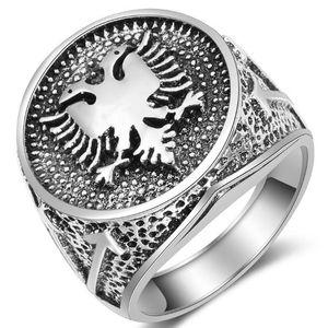 Hochwertige Europäische Albanische Flagge Zeichen Doppeladler Ring männer Alte Silber Vintage Ringe Für Männer Geschenk