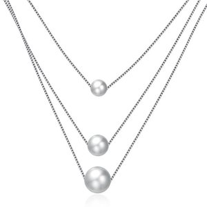 Kadınlar kolye 925 Gümüş Üç Katmanlar Beyaz İnci kolye kolye