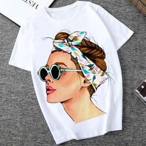 여성 여름 유행 레이디 캐주얼 T -Shirt 하라주쿠 스트리트 짧은 소매 O -Neck 탑 인쇄 티 Camisetas Mujer 플러스 사이즈의 S-2XL 탑