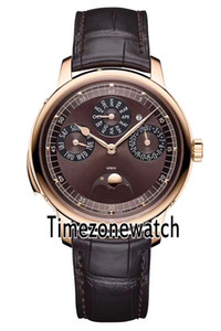 Nuovo Patrimony Contemporaine 43175 / 000R-9687 Moon Phase Automatic Watch Mens in oro rosa Quadrante Champagne cinturino in pelle marrone Timezonewatch E47a1