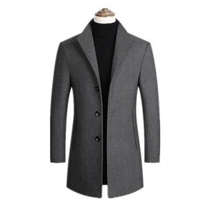 Marca Hombres mezclas de lana abrigos del invierno del otoño del color sólido de la alta calidad de los hombres 'S Abrigos de lana de lujo mezclas de lana capa masculina tamaño M-3XL