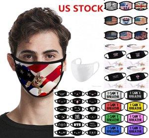 ABD STOK, Tasarımcı Maske Anti Toz Siyah Hayatlar Matter yapamam nefes Bisiklet Karikatür Pamuk Bayrak Trump Yıkanabilir Tekrar Kullanılabilir Bez maskeler
