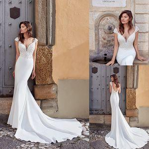 2020 Eddy K Mermaid Wedding Dresses Lace Appliques V Neck Cap Sleeve Trumpet Wedding Dress Sweep Train Backless Plus Size Robe De Mariee