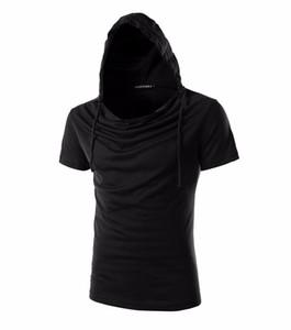 Men'S T Shirt Hooded Sling Short-Sleeved Tees Male Camisa Masculina T-Shirt Slim T Shirt Homme Large 5214