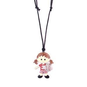 Mode mignon de baseball fille Pendentif cristal coloré collier sport corde réglable pour les femmes