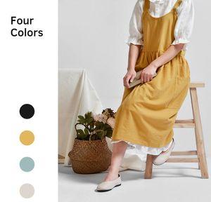 Saia de algodão Avental Avental Bib Mulheres lojas de café e floristas aventais de limpeza de trabalho para a mulher