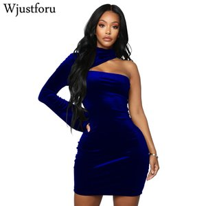 Wjustforu fuera del hombro vestido de terciopelo de las mujeres ahueca hacia fuera cuello alto sexy mini vestidos bodycon elegante vestido de fiesta de primavera desgaste del club
