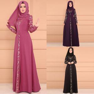 Siskakia muçulmana árabe Abaya Vestido manga comprida Dubai Turquia floral árabe Imprimir Hijab Vestidos Kaftan turco roupa islâmica