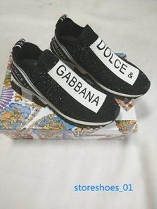 Dolce Gabbana Casual Shoes  Xshfbcl chegada de moda de luxo mens tênis Baixo ajudar a esticar-malha sapatos meias Carta strass respirável elástica senhoras sapatos casuais