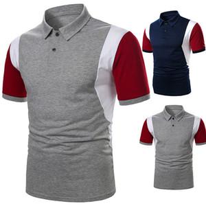 Mens Designer Patchwork Farbe Polos Casual Revers Hals Kurzarm Polos Mode Kontrast Farbe Polos Frauen Kleidung