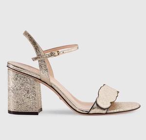 luxury high heel designer shoes real leather gold lettered decorative belt buckle designer sandals size 35 to 41