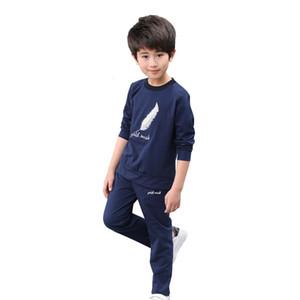 2019 Sonbahar Bahar Erkek Moda Giyim Setleri Erkek Çocuklar Tüy Baskı Spor Takım Elbise Tops + Pantolon çocuk Sportwear Eşofman