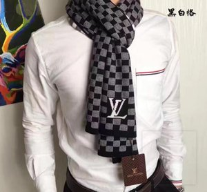 Brand men's wear warm in winter and cool in summer d.j. 's scarf fashionable gentleman's letter patch plaid knitted wool soft shawl .no box