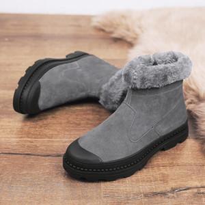 Venta-Invierno Caliente Caliente botas de felpa de los hombres de los zapatos impermeables del tobillo botas planas de moda ante el cuero de los hombres de botas para la nieve