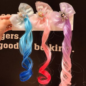 Gradient Wig Hairpins for Girls Princess Hairstyle Hair Clips Fake Braid Hair Headdress Children Kids Pins Accessories