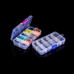 Caja de almacenamiento de plástico transparente ajustable de 10 rejillas para píldoras de cuentas de pequeños componentes Caja organizadora Caja de punta de arte de uñas Caja de condimentos de cocina
