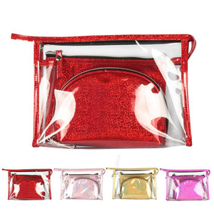 3pcs Travel PVC Cosmetic Bags Women Transparent Clear Zipper Laser Makeup Bags Organizer Bath Wash Make Up Tote Handbags Case