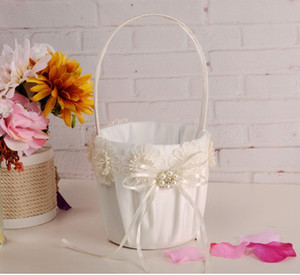 Paniers de fleurs pour les mariages Fille 2020 Hot Vente Beige Champagne Satin Panier Kits fleurs 23cm * 13cm Livraison rapide