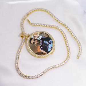 Круглый фото на заказ фото медальоны кулон картина ожерелье теннисная цепь золото серебро кубический Циркон мужские хип хоп ювелирные изделия