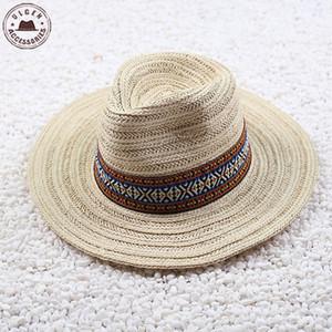 빈티지 여름 밀짚 모자 페도라 모자 베이지 카키색 카우보이 모자 성격의 밴드와 여성을위한 큰 고리 형 빨대 파나마 모자