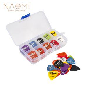 NAOMI Guitar Picks 24 pcs Guitarra Elétrica Picaretas Plectrums + Pick Case Assorted Aleatória Espessura Peças de Guitarra Acessórios