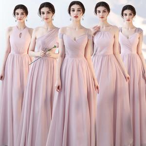 Borgoña elegante largo vestidos de honor Una línea de cuello en V vestido de las mujeres de visitantes para la fiesta vestidos de boda ¿Alguna vez Bastante más del tamaño