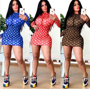 14L5085 Frauen einteiliges Kleid der langen Hülse Sommerrock Designer oben Knie heiß hohe Qualität dünnes Kleid sexy elegante Luxus-Kleid