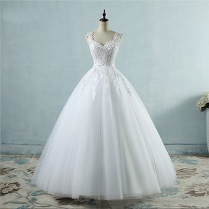 New bridal lace sexy thin double shoulder pearl style simple wedding dress