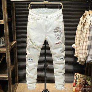 Lüks erkek kot beyaz kişilik Kulesi desen mektup baskılı kot tasarımcı streç kemer dekorasyon Ince ayak pantolon