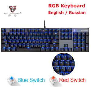 ice Keyboards Keyboards MOTOSPEED CK104 CK61 Russian English Mechanical Keyboard RGB Backlight Anti-Ghosting Gaming keyboard For Teclado ...