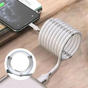 3 en 1 Absorción magnético de datos del cargador del cable de 360 grados de carga magnética Cable para Android Tipo-c rápida y fácil almacenamiento