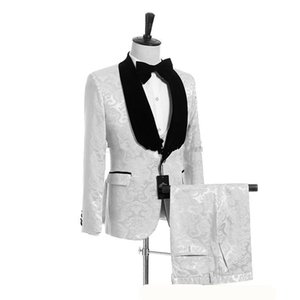 Neue modische Schal Revers Groomsmen One Button Bräutigam Smoking Herren Anzüge Hochzeit / Prom Trauzeuge Blazer (Jacke + Pants + Weste + Tie) 105