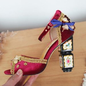 Hot Vente Bohême toe ethnique Fashion Court mariage chaussures escarpins femme