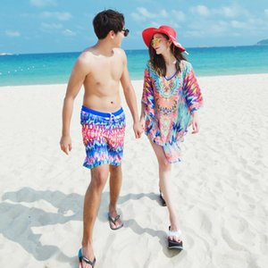 Couples swimwear women sexy print swimsuit with cover up men beach shorts trunks lover's beach wear bathing suits
