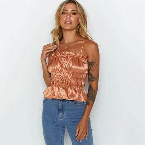 Slash cuello Camis Ropa para Mujer para mujer diseñador de moda plisada Camis color natural de Cultivos superior ocasional Peplum