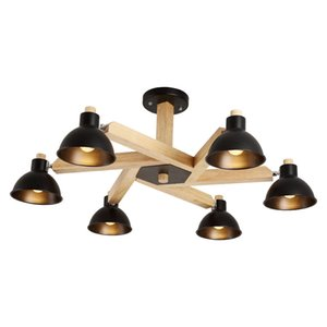 Modern Led Ceiling Lights Fixture With Iron Lampshade Wooden Indoor Lamp For Living Room Bedroom Nordic Metal Lighting Luminaire