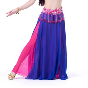 Women Belly Dance Costume Chiffon Skirt 2 Side Slik Skirt Dress 8 Colors Lady New