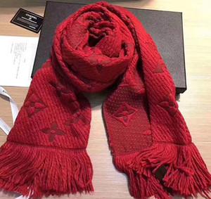 Winter LOGOMANIA SHINE Schal Hochwertige Wolle Seidenschal Frauen und Männer Zwei Seiten Schwarz Rot Seide Wolle Lange Schals Blumenschals Schals A20