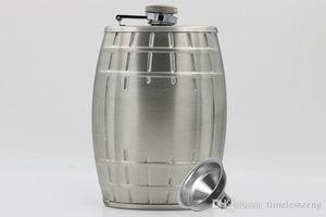 Stainless Steel Hip Flask Creative Bucket Type 6oz Pocket Flagon Alcohol Whiskey Liquor Bottle Send Funnel