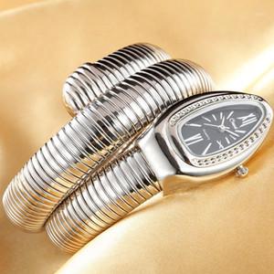 Los cristales de joyería brazalete de la serpiente relojes de las mujeres del reloj de pulsera Infinity cuarzo de las muchachas del reloj Relojes1