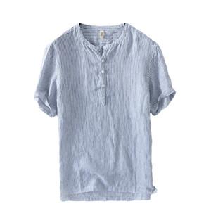 الرجال عارضة القمصان الرجال الكتان قصيرة الأكمام الصيف تنفس الجودة يتأهل الرجال الصلبة