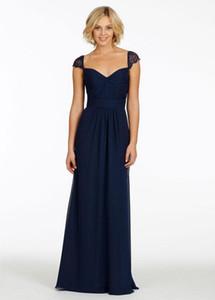 New Cheap Backless Dark Navy Evening Dresses Sweetheart Ruffled Chiffon Cap Sleeve A-Line Formal Dresses Lace Prom Dresses Vestidos De
