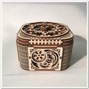 New Jóias caixa de madeira montado Toy Presente criativo Enigma de madeira Mecânica Transmissão Modelo montado Toy DIY presente