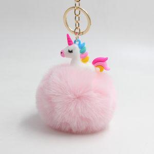 12 Colours 8CM Fluffy Metal Alloy Unicorn Pom Keychain Pendant Cute Pompom Artificial Rabbit Fur ball Key Chain Bag Car Key Ring Hang Bag