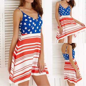Donne Beach Sling Abiti Mini Striped Paneled Short Dress Stars Abiti da stampa American Flag Independence National Day USA 4 luglio